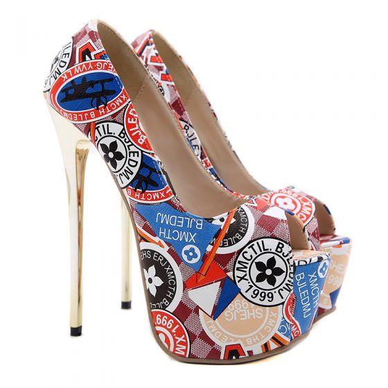 Romain Multi-Couleurs Griffonnage Club de carnaval Chaussures Femmes 2021 16 cm Talons Aiguilles Peep Toes / Bout Ouvert Imperméables Talons Hauts