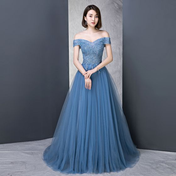 517a40e0a10 Modern   Fashion Ocean Blue Evening Dresses 2018 A-Line   Princess  Off-The-Shoulder Short Sleeve Appliques Lace Beading Pearl Rhinestone Sweep  Train ...