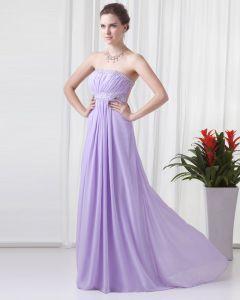 Elegant Perlen Ruffle Strapless Bodenlangen Chiffon Abendkleider