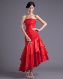 Fashion Charmeuse Pleated Strapless Asymmetrical Tea Length Bridesmaid Dress