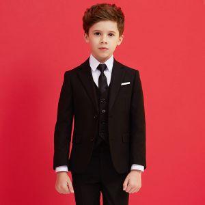 Modest / Simple Black Tie Boys Wedding Suits 2019