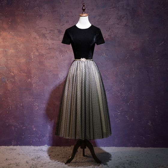 Chic / Beautiful Black Prom Dresses 2018 A-Line / Princess Sash Suede Scoop Neck Backless Short Sleeve Tea-length Formal Dresses