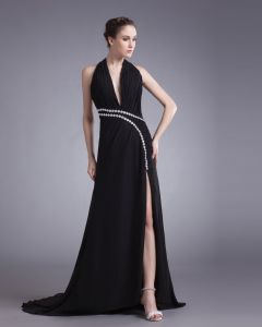 Chiffon Beading Halter Court Train Slit Prom Dress