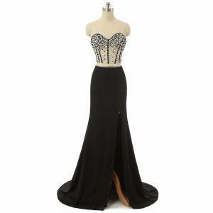 Luxury / Gorgeous 2 Piece Black Prom Dresses 2017 Trumpet / Mermaid Sweetheart Sleeveless Beading Pearl Chiffon Split Front Formal Dresses Sweep Train