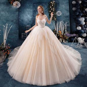 Chic / Beautiful Champagne Wedding Dresses 2019 Ball Gown Sweetheart Sleeveless Backless Beading Glitter Tulle Cathedral Train Ruffle