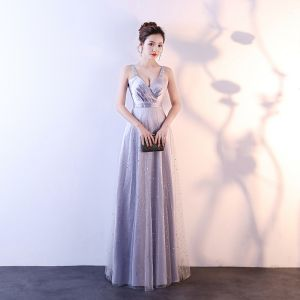 Affordable Silver Evening Dresses  2018 Empire Shoulders Sleeveless Sash Glitter Tulle Floor-Length / Long Ruffle Backless Formal Dresses