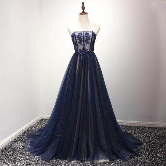 Piękne Sukienki Wizytowe 2017 Sukienki Wieczorowe Granatowe Princessa Trenem Sweep Bez Ramiączek Bez Rękawów Bez Pleców Z Koronki Aplikacje Frezowanie Rhinestone