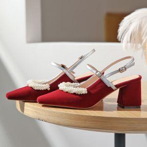 Elegant Burgundy Prom Slingbacks Womens Shoes 2020 Pearl 6 cm Thick Heels Pointed Toe Heels