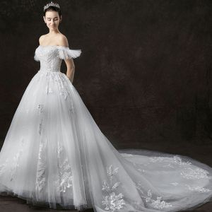 Chic / Beautiful Ivory Wedding Dresses 2019 A-Line / Princess Off-The-Shoulder Short Sleeve Backless Appliques Lace Glitter Tulle Cathedral Train Ruffle