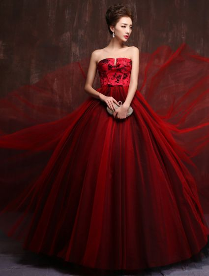 Gorgeous Prom Dress 2016 Strapless Impression Burgundy Tulle Evening Dress
