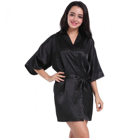 Modest / Simple Black Wedding Bridesmaid Printing V-Neck 3/4 Sleeve Silk Robes 2020 Sash