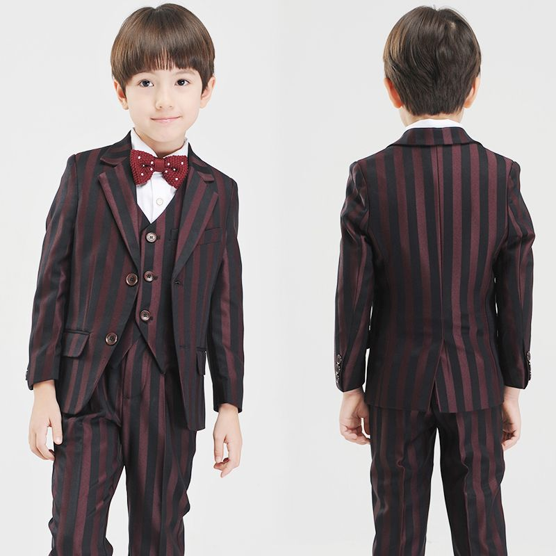 Modest / Simple Black Burgundy Striped Long Sleeve Boys Wedding Suits 2017