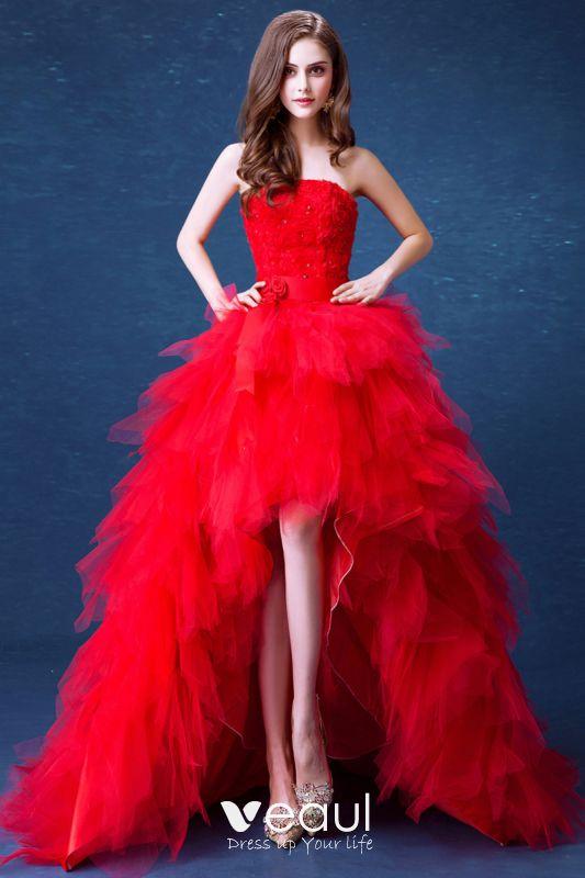 Sexy Rouge Asymetrique Robe De Mariee 2020 Robe Boule Bustier Cristal Appliques Ceinture Sans Manches Dos