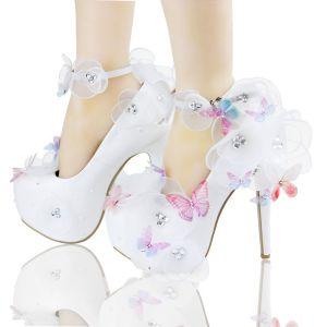 Mooie / Prachtige Witte Bruidsschoenen 2018 Leer Vlinder Bloem Rhinestone 14 cm Naaldhakken / Stiletto Spitse Neus Huwelijk Pumps