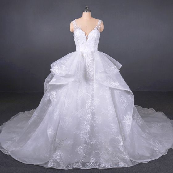 Luxury / Gorgeous White See-through Bridal Wedding Dresses 2020 Ball Gown Shoulders Sleeveless Appliques Lace Beading Chapel Train Ruffle