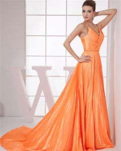 Charmeuse Silk V Neck Sleeveless Zipper Ruffle Floor Length Woman Evening Dress