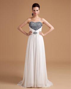 Chiffon Sweetheart Pleated Bead Floor Length Ball Gown Evening Dress