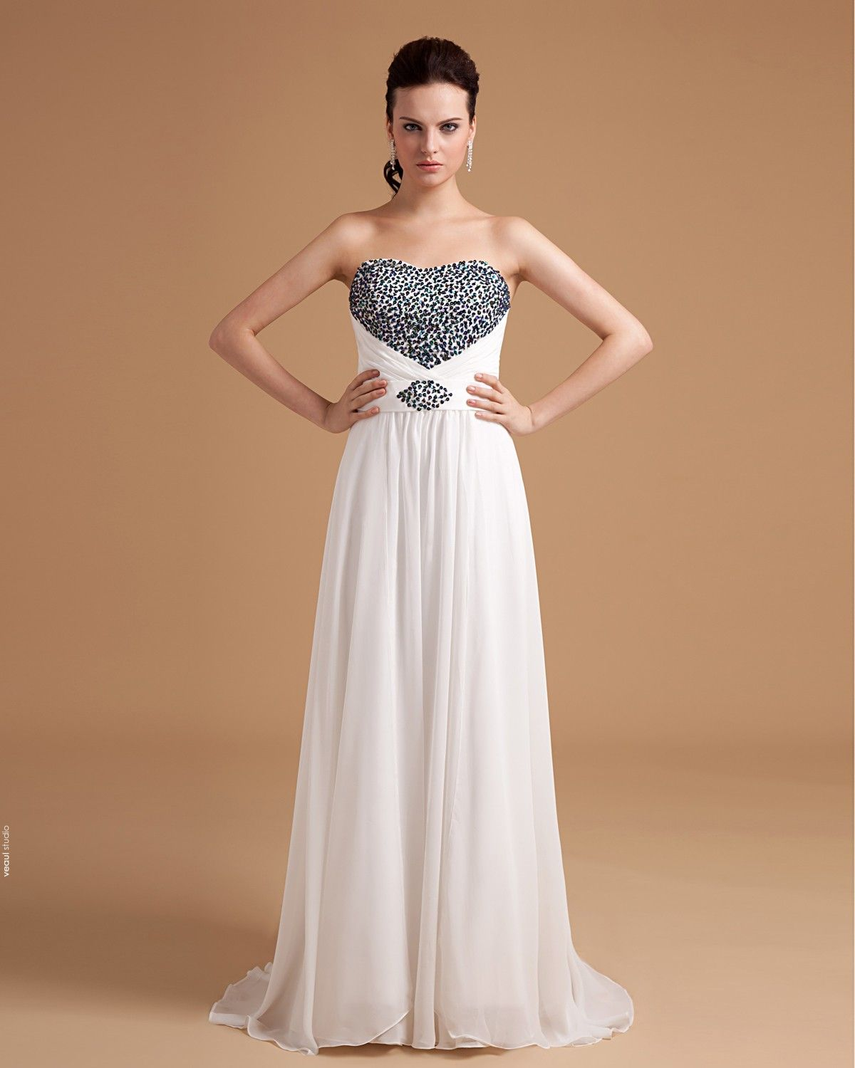 Chiffon Sweetheart Pleated Bead Floor Length Ball Gown Evening Dress