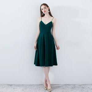 Simple Vert Foncé Robe De Fete 2018 Princesse Bretelles Spaghetti Sans Manches Ceinture Thé Longueur Dos Nu Robe De Ceremonie
