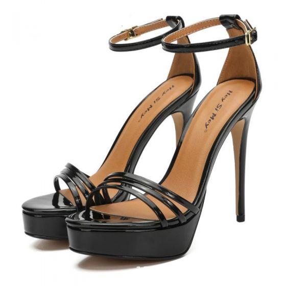 Enkel Svart Gateklær Sandaler Dame 2020 Patent Lær Ankelstropp 13 cm Stiletthæler Peep Toe Sandaler