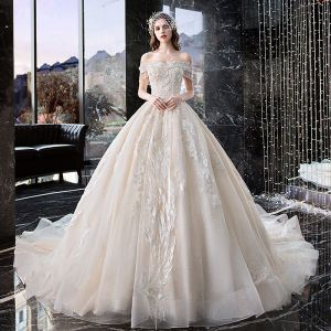 Chic / Beautiful Ivory Wedding Dresses 2019 A-Line / Princess Off-The-Shoulder Appliques Lace Flower Pearl Beading Tassel Short Sleeve Backless Cathedral Train