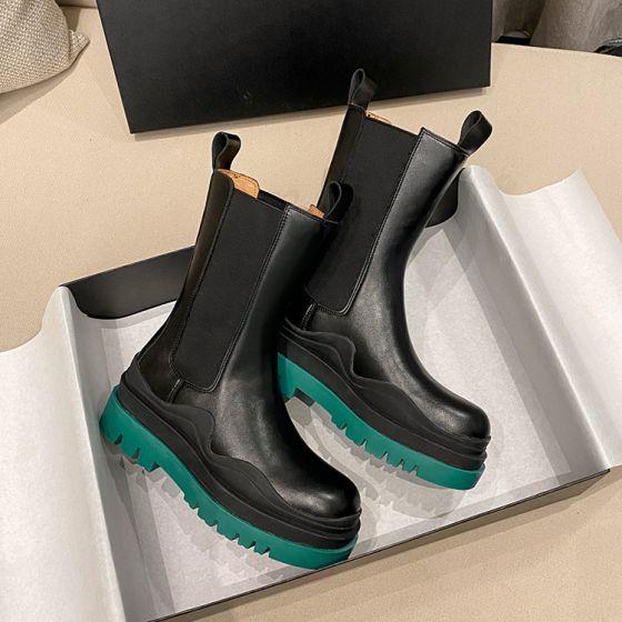 Modest / Simple Winter Black Street Wear Flat Round Toe Mid Calf Womens  Boots 2020