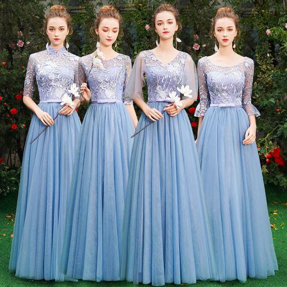 Niedrogie Niebieskie Sukienki Dla Druhen 2019 Princessa Aplikacje Z Koronki Kokarda Szarfa Długie Wzburzyć Bez Pleców Sukienki Na Wesele