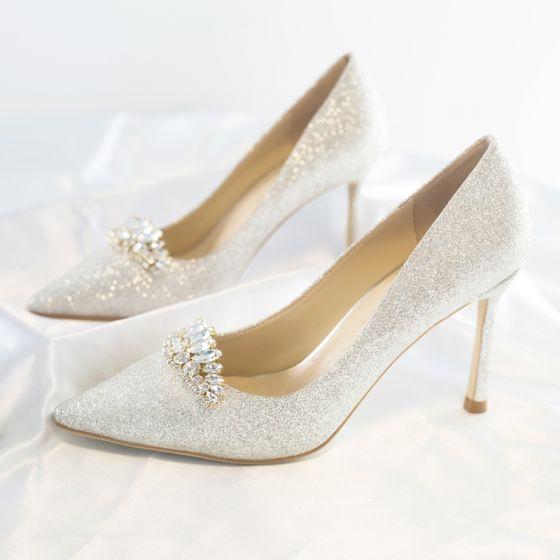 Glitzernden Charmant Ivory / Creme Brautschuhe 2020 Leder Pailletten Kristall Strass 8 cm Stilettos Spitzschuh Hochzeit Pumps
