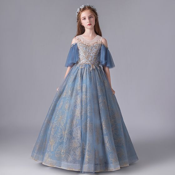 Chic / Beautiful Ocean Blue Birthday Flower Girl Dresses 2020 Ball Gown See-through Scoop Neck Bell sleeves Backless Appliques Sequins Embroidered Flower Floor-Length / Long Ruffle
