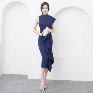 Modern / Fashion Modest / Simple Navy Blue Evening Dresses  2019 Trumpet / Mermaid Scoop Neck Sleeveless Tea-length Formal Dresses