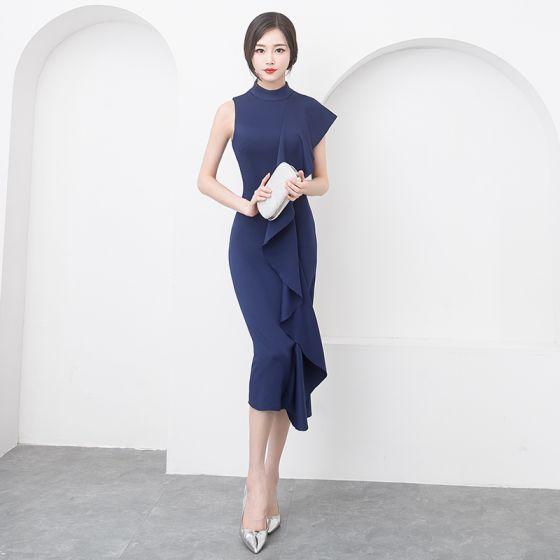 Modern / Fashion Modest / Simple Navy Blue Evening Dresses  2019 Trumpet / Mermaid Scoop Neck Sleeveless Tea-length Formal Dresses