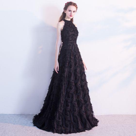 Modern / Fashion Black Evening Dresses  2017 A-Line / Princess High Neck Sleeveless Strapless Floor-Length / Long Ruffle Formal Dresses