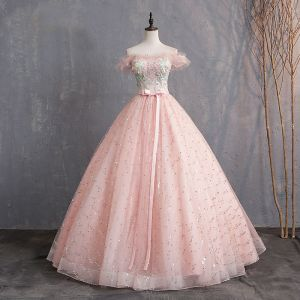 Elegant Pearl Pink Prom Dresses 2019 Ball Gown Off-The-Shoulder Appliques Lace Flower Sequins Bow Pearl Short Sleeve Backless Floor-Length / Long Formal Dresses