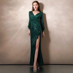 Scintillantes Vert Foncé Paillettes Robe De Soirée 2020 Trompette / Sirène Col v profond Gonflée Manches Longues Longue Volants Robe De Ceremonie
