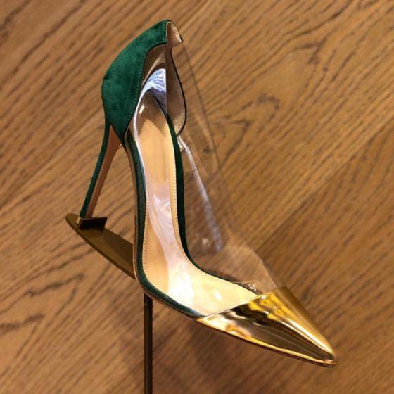 Chic / Belle Transparent Deux tons Vert Foncé Vêtement de rue Escarpins 2020 7 cm Talons Aiguilles À Bout Pointu Escarpins