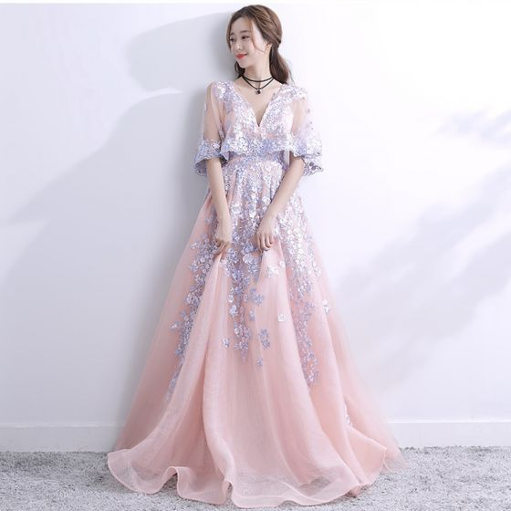 Chic / Beautiful 2017 Blushing Pink Evening Dresses  A-Line / Princess Lace V-Neck Appliques Backless Homecoming Party Dresses