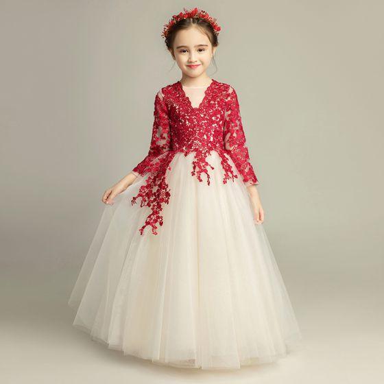 Elegantes Champán Vestidos Para Niñas 2019 A Line Princess Scoop Escote 34 ærmer Borgoña Apliques Con Encaje Largos Ruffle Vestidos Para Bodas