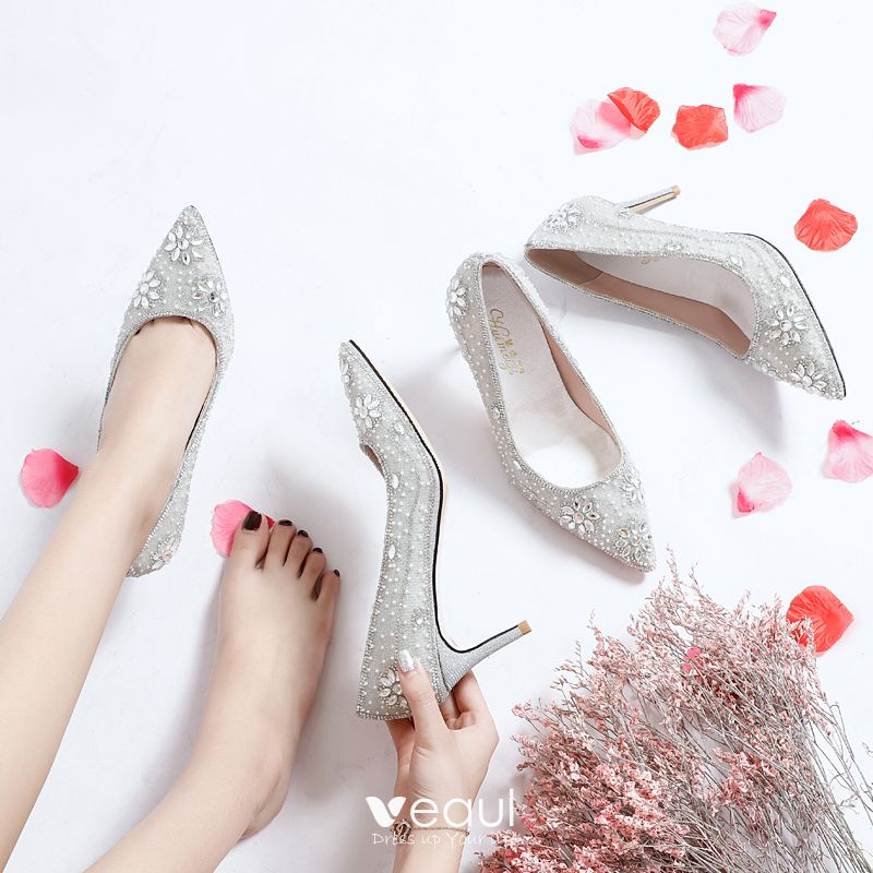 Charming Silver Rhinestone Wedding Shoes 2019 Leather Sequins 9 cm Stiletto Heels Pointed Toe Wedding Pumps