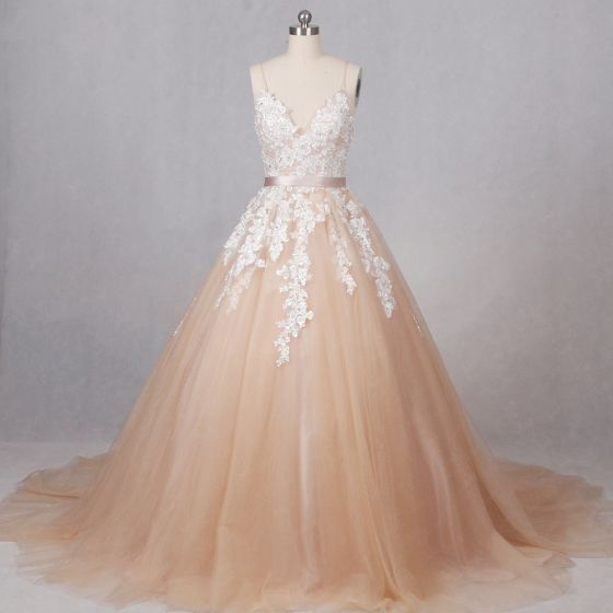 Elegant Champagne Wedding Dresses 2017 V-Neck Spaghetti Straps Shoulders Sleeveless Appliques Sequins Lace Backless Sash Tulle Ball Gown