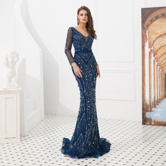 High-end Navy Blue Evening Dresses  2020 Trumpet / Mermaid V-Neck Long Sleeve Handmade  Beading Sweep Train Ruffle Backless Formal Dresses