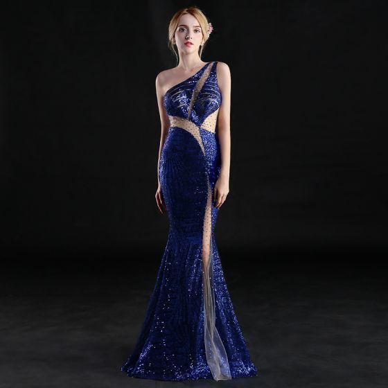 Sexy Royal Blue See-through Evening Dresses  2019 Trumpet / Mermaid One-Shoulder Sleeveless Rhinestone Glitter Sequins Floor-Length / Long Ruffle Backless Formal Dresses