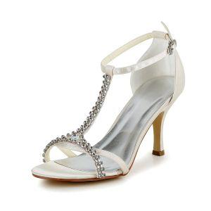 Brillant Talons Hauts Satin Ivoire T-strap Chaussures De Mariée Avec Strass