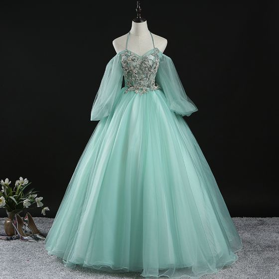 Chic / Beautiful Mint Green Prom Dresses 2020 Ball Gown Halter Puffy Long Sleeve Appliques Lace Beading Floor-Length / Long Ruffle Backless Formal Dresses