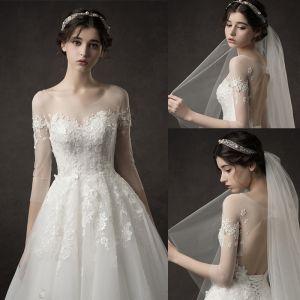 Elegant Ivory Wedding Dresses 2019 A-Line / Princess Scoop Neck Sequins Lace Flower 1/2 Sleeves Backless Floor-Length / Long
