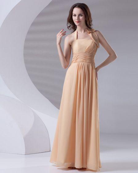 Fashion Ruffle Floor Length Halter Chiffon Bridesmaid Dress