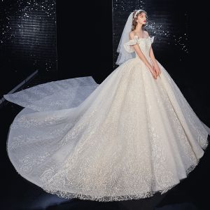 Best Champagne Bridal Wedding Dresses 2020 Ball Gown Off-The-Shoulder Short Sleeve Backless Appliques Lace Beading Glitter Tulle Royal Train