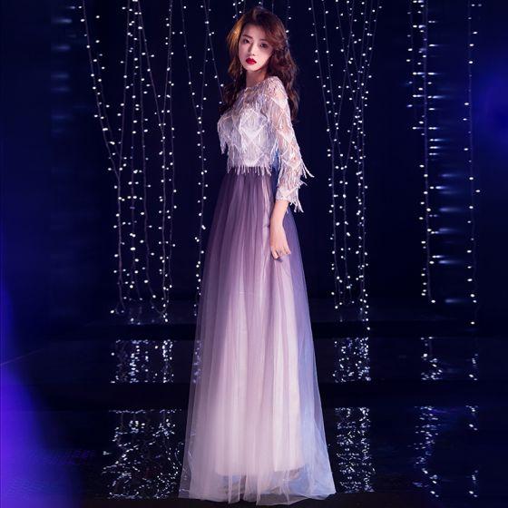 Uroczy Gradient-Kolorów Fioletowe Sukienki Wieczorowe 2019 Princessa Wycięciem Cekiny Kutas 3/4 Rękawy Długie