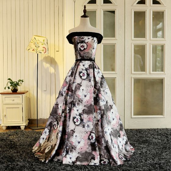 Fée Des Fleurs Multi-Couleurs Longue Robe De Soirée 2018 Impression Charmeuse Princesse Dos Nu Bustier Soirée Robe De Bal