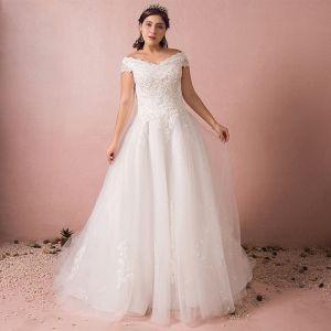 Mooie / Prachtige Witte Trouwjurken 2017 A lijn V-Hals Tule Kralen Pailletten Appliques Ruglooze Huwelijk