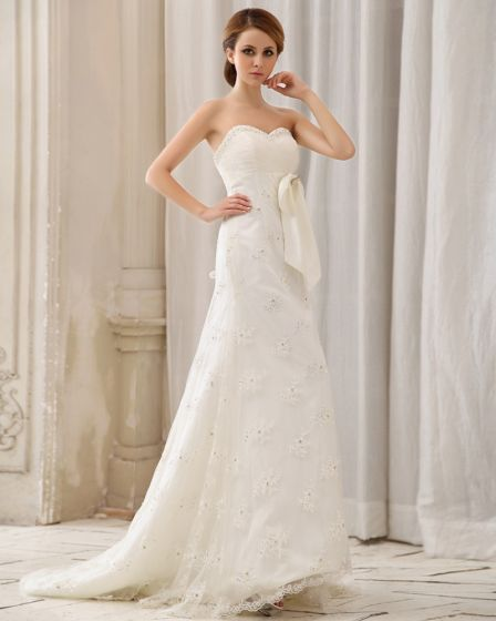 Satin Beaded Applique Strapless Chapel A-line Bridal Gown Wedding Dress